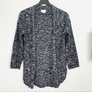 Old Navy Marled Knit Open Cardigan Black White S